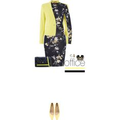 Office outfit: Yellow - Black - Floral