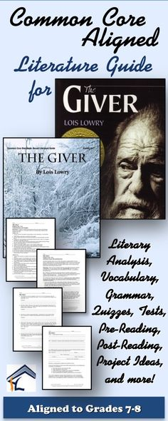 The Giver Common Core Aligned Literature Guide for middle school! Aligned to Grades 152 pages! 8th Grade Reading, Middle School Reading, Middle School English, Middle School Classroom, English Classroom, 7th Grade Ela, High School, Teaching Literature, Teaching Reading
