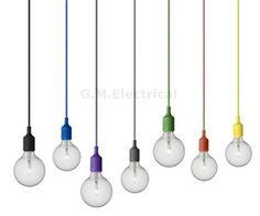 RETRO CEILING ROSE PENDANT LIGHT E27 LIGHT BULB SILICONE LAMP HOLDER SHADE UK in…