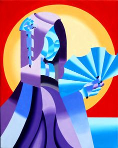 """Mark Webster - Geisha - Abstract Geometric Futurist Figurative Oil Painting by Mark Webster Oil ~ 30"""" x 24"""""""