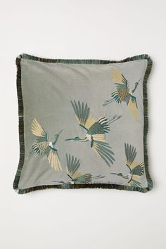 Embroidered cushion cover - Dusky green/Cranes - Home All Velvet Cushions, Seat Cushions, Throw Pillow Covers, Throw Pillows, White Cushion Covers, Gift Card Shop, Embroidered Cushions, H&m Home, Shades Blinds