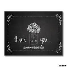 Chalkboard Mason Jar Flowers Wedding Thank You