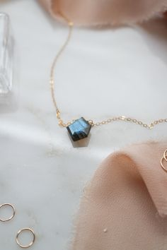 Geometeic cut AAA Quality blue flashy Labradorite handcrafted necklace in 14k rose gold/gold filled and Sterling Silver 925 . #labradorite #gemstonejewelry #goldnecklaces #bluelabradorite #minimalistnecklace #minimalistjewelry #geometricnecklace #geometricjewelry Dainty Jewelry, Gemstone Jewelry, Unique Jewelry, Geometric Necklace, Geometric Jewelry, Best Friend Gifts, Gifts For Friends, Aromatherapy Jewelry, Minimal Jewelry