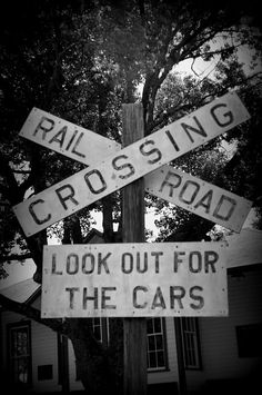 Look Out For Cars by Laurie Perry #railroadcrossing #blackandwhitephotography #rural