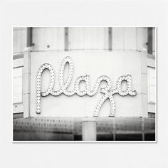 Black and White Photography Black and White Prints Art Deco Prints Retro Decor Vintage Sign Picture Grey Black White Silver Plaza Sign.. $30.00, via Etsy.