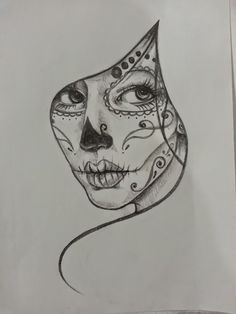 black and white sugar skull girl tattoo - Google Search