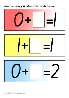 Simple flash cards showing number sentences with blanks for making numbers 1 to Number Stories, Missing Number, Sentences, Numbers, Cards, Frases, Maps, Playing Cards