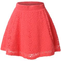 LE3NO Womens Floral Lace Versatile Flared Skater Skirt (£7.11) ❤ liked on Polyvore featuring skirts, bottoms, circle skirt, skater skirt, floral print skirt, red flare skirt and red floral skirt