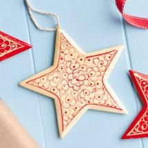 Nordic Handpainted White Star Christmas Tree Decoration