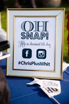 Unique white, gold blue wedding day sign idea - encourage guests to share their photos with custom wedding hashtag sign - displayed in white + gold frame {Zoe Life Photography}