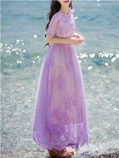 ericdress.com offre une haute qualité  Ericdress Solide Couleur Dentelle Patchwork Maxi Dress Robe maxi  le prix unitaire d' $ 29.75.