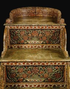 A Rare and important Mughal carved wood throne with Qur'anic verses, India, probably Deccan, dated 1297 AH/1879-80 AD