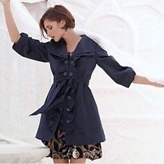 Anthropologie Idra Whimsy ruffle trench coat Size 2 Navy Blue Lined 3/4 Sleeve #Idra #DoubleBreasted #Outdoor