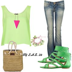 """Two Tones of Green, Jeans, Pink, Nude Outfit """"Untitled #2494"""" by lilhotstuff24 on Polyvore"""