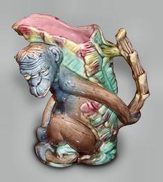 Majolica figural monkey jug circa 1880