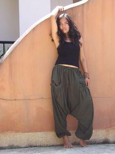 Harem Pants ...Yoga Pants ..Leasuire Pants ...Color Green by Ablaa