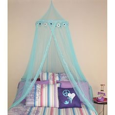 Update your little girl's bedroom to make it fit for royalty with this blue daisy canopy. This canopy can be hung over a twin- or full-size bed and it will instantly feel like the bed of a princess in Girls Canopy, Kids Bed Canopy, Bed Canopies, Canopy Curtains, Room Color Schemes, Teen Girl Bedrooms, Girls Bedroom Colors, Blue Bedroom, Master Bedrooms