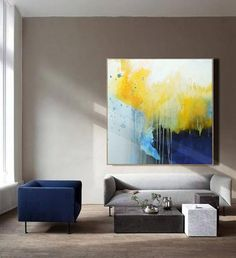 Large Yellow Painting,Deep Blue Abstract Canvas Painting,Minimalist Abstract Painting,Canvas Abstract Oil Painting,Dining Room Art Painting - Gifts For Love Blue Abstract Painting, Yellow Painting, Abstract Canvas, Canvas Art, Painting Canvas, Large Wall Paintings, Art Paintings, Dining Room Art, Contemporary Abstract Art