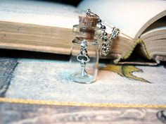 Key in a Bottle Necklace - 1ml Glass Vial Pendant Charm - Antique Silver Dangling Key