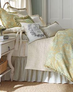 """-511Z French Laundry Home  King Floral Duvet Cover, 108"""" x 98"""" Queen Floral Duvet Cover, 96"""" x 98"""" King Seersucker Stripe Dust Skirt"""