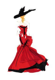 Oscar de la Renta gown by tomfordismydad      Illustration by TOMFORDISMYDAD