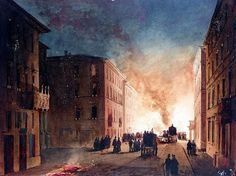 Ippolito Caffi, A FIRE IN A ROMAN STREET