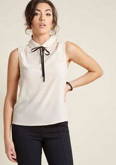 Feedback At It Sleeveless Top in Cream   ModCloth
