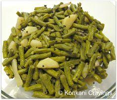 KONKANI CRAVINGS: Alsande Upkari (Long Green Beans/Yard Long Beans s...