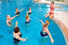 An excellent way to burn unwanted calories is by joining a water aerobic club. Water aerobic exercises are the most preferred form of exercise during the sweltering months of summer. To know more about water aerobic exercises read on. Water Aerobic Exercises, Swimming Pool Exercises, Pool Workout, Aerobics Workout, Swimming Pools, Water Workouts, Yoga Exercises, Water Aerobics Routine, Swimming Workouts