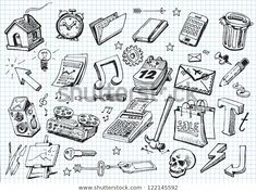 Set Hand Drawn Icons Stock Vector (Royalty Free) 122145592 Learn To Draw, How To Draw Hands, Free Doodles, Vintage Business Cards, Brand Fonts, En Stock, Drawing Board, Royalty Free Stock Photos, Hand Drawn