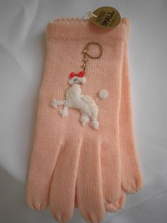 Fabulous Vintage 1950s Wool Gloves with Poodle embroidery!