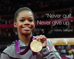 Gabby Douglas, the first woman of color of any nationality and the first African-American gymnast in Olympic history to become the Individual All-Around Champion. She is also the first American gymnast to win gold in both the gymnastic individual all-around and team competitions at the same Olympic games.