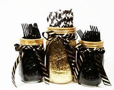 Birthday Decorations Mason Jar Centerpieces Black and Gold Decor Gold Wedding Party Centerpieces Graduation Party Decor Set of 3 70th Birthday Parties, 50th Party, Gatsby Party, Birthday Ideas, 65 Birthday, Golden Birthday, Surprise Birthday, Mason Jar Centerpieces, Party Centerpieces