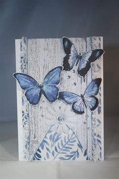 I only purchased 3 sheets of this collection, and one of the sheets was covered with gorgeous blue butterflies, so immediately I fussy cut those(!)I managed to make a lot of different crafty items … Vintage Butterfly, Butterfly Cards, Blue Butterfly, Creative Cards, Junk Journal, Handmade Cards, Cardmaking, Indigo, Butterflies