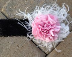 Baby girl headband, newborn headband, toddler headband, photo prop,Over the top (OTT) headband, pink, ivory feather and black lace headband