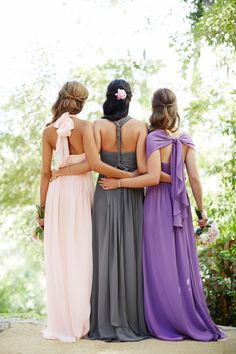 The Aidan is convertible bridesmaid dress by Jenny Yoo.  Flowy & Feminine. Available in Petal Pink, Wisteria, Aubergine (dark purple), Champagne, Black, Charcoal, Navy, Capri (light blue), & Claret (red) | Rent on vowtobechic.com