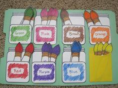 pre-k file folder games Preschool Classroom, Preschool Learning, Classroom Activities, Preschool Activities, Kids Learning, Preschool Printables, Toddler Color Learning, Classroom Ideas, Learning Games For Preschoolers