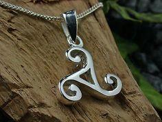 925 Sterling Silber, Triskele, Keltischer Knoten Dreifaltigkeit, Ketten-Anhänger