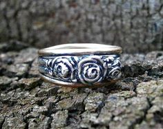 Hand sculpted rosebud band in gold and silver by SusanRoosJuwele, $260.00