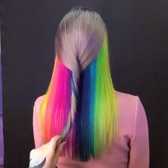 #haircolor #haircolorist #hairdye #hairstylist #hairart #hairs #hairextensions #haircolors #haircolourist Neon Hair, Pastel Hair, Pastel Rainbow Hair, Colorful Hair, Purple Hair, Hair Dye Colors, Cool Hair Color, Hidden Rainbow Hair, Pelo Multicolor