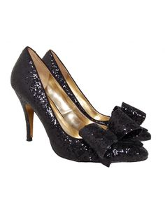 Designer Clothes, Shoes & Bags for Women Black Glitter Shoes, Glitter Pumps, Black Pumps, Black Shoes, High Heel Pumps, Pumps Heels, Shoes For Less, Ted Baker Shoes, Bow Shoes