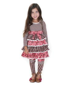 Love this Pink Into the Woods Brook Tiered Dress & Leggings - Kids & Tweens on #zulily! #zulilyfinds