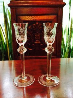 Vintage Beautiful Crystal Candle Holders/ Floral Cut Crystal Candleholders by VintageVixens1 on Etsy