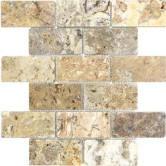 Scabos Tumbled Natural Stone Mosaic Subway Wall Tile (Common: 12-in x 12-in; Actual: 10-in x 12-in)