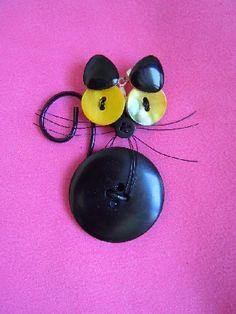 Buttons Black Cat charm