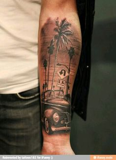 Guy's tattoo of LA