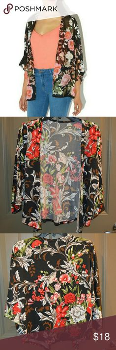 Flower Kimono - Jacket ✨ ➡Material: coton + Polyester ➡Color: Printed   Fashion Vintage Floral Loose 3/4 Sleeve Kimono, jacket .    ➡*Very good condition ✔.                   ➡*REASONABLE OFFER WELCOME✨ Jackets & Coats