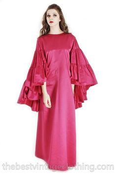 Stunning Vintage Vuokko Finish Designer Gown Fuchsia Pink Silk Creation  Cape Sleeves Red Carpet  S