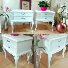 Shabby Chic white nightstands by Revolta  Mesitas de noche Shabby como chic reacondicionadas  #Romantic #Shabbychic #Vintage #Deco #Handmade