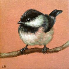 Original Oil Painting Pink Chickadee